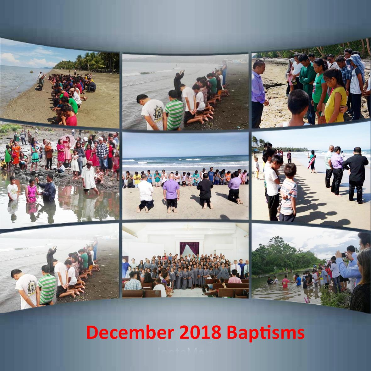 889 were baptized in December 2018
