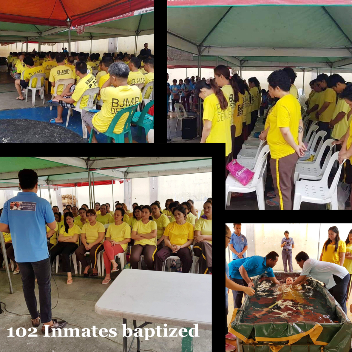 A total of 102 Inmates were baptized in the Valenzuela City Jail as of December 2018